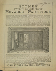 Advert For John Stone's Revolving Shutters & Partitions reverse